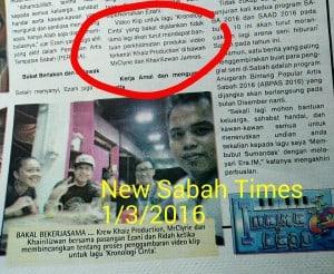 Khaiz Production @ New Sabah Times 1/3/2016